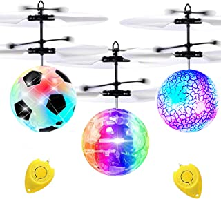 3 Pack Kids Flying Ball RC Toys, Hand Operated Mini Drones with Lights Recharge Holiday Toy for Boys Age 6-14 Infrared Ind...