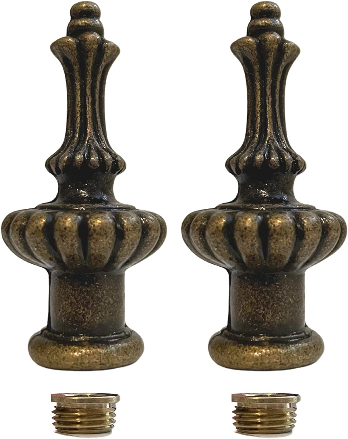 Set of Two Lamp Finials Popular standard safety in Modern 2.25 Colour In Brass Antique -