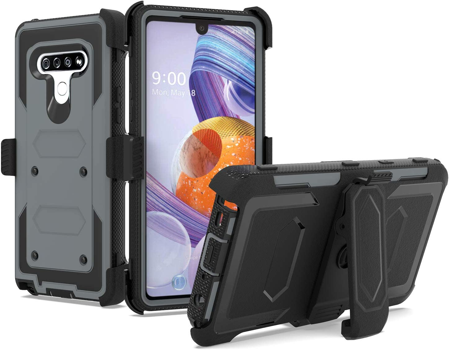 UNC Pro 3 in 1 Belt Clip Holster Cell Phone Case for LG Stylo 6, Heavy Duty Shell Hybrid Shockproof Bumper Case with Kickstand, Grey/Black