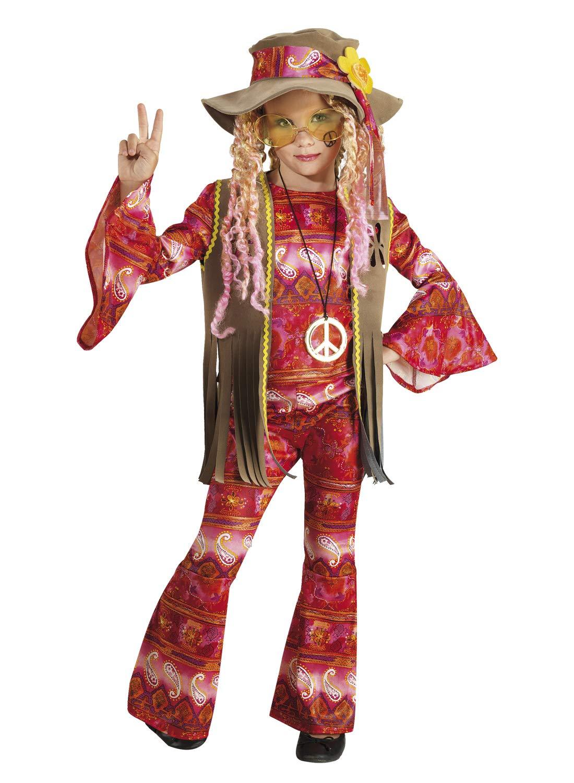 chiber Disfraces Disfraz de Hippie Flower Power para Niña (Talla ...