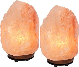 """Simply Genius (2 Pack) Himalayan Salt Lamps Lights, Electric 6"""" Natural Crystal Salt Rock Lamp With Bulb & Cord, Air Purifier Night Light For Bedrooms, With Dimmer Switch"""
