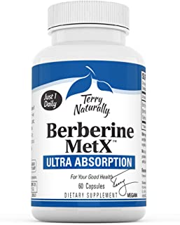 Terry Naturally Berberine MetX Ultra Absorption, 60 Capsules - Metabolic Support, Healthy Blood Sugar, Cholesterol & Trigl...
