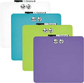 Quartet Tin Square Magnetic Whiteboards, 11.5-Inch x 11.5-Inch, Assorted Colors, 6 Pack (TSQ1212)