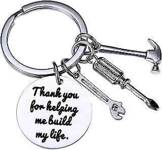 BESPMOSP Thank You for Helping me Build My Life Dad Teacher Keychain Birthday Family Best Friend Graduation Keyring Christmas Jewelry