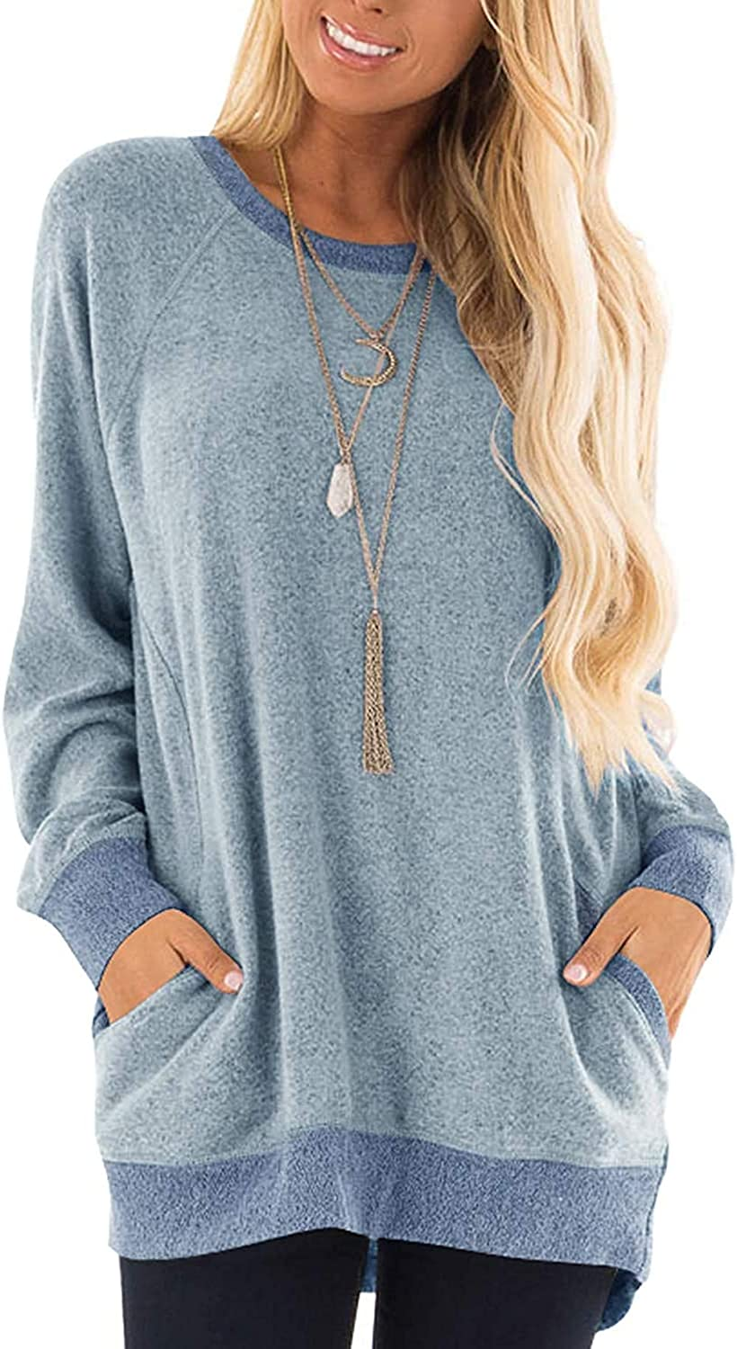 Womens Casual Color Block Long Sleeve Round Neck Pocket T Shirts Blouses Sweatshirts Plus Size Tunic Tops (S-5XL)
