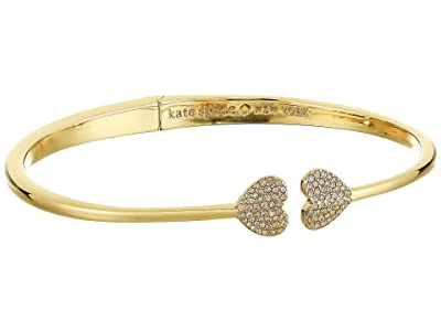 Kate Spade New York Heart to Heart Open Hinged Cuff (Clear/Gold) Bracelet