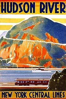 New York Hudson River Central Lines Train Railroad Valley River Vintage Illustration Travel Laminated Dry Erase Sign Poster 12x18
