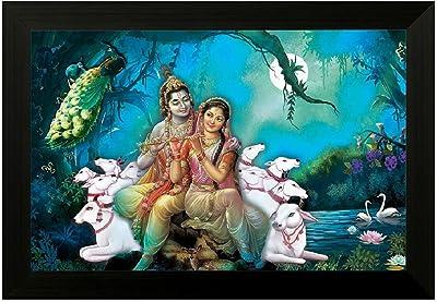SAF Radha Krishna 6380 UV Textured Framed Painting (35 x 50 x 2 cms) SANFM6380
