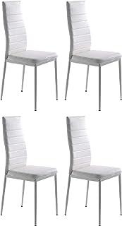 Miroytengo Pack 4 sillas Blanco Clady modenas Salon Cocina Estilo contemporaneo Polipiel Comedor 98x47x41