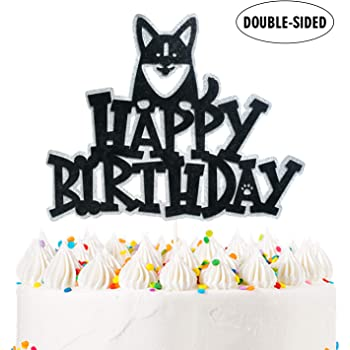 Shiba Inu Happy Birthday Topper Dog Birthday Cake Topper,Let's Pawty Decoration Supplies