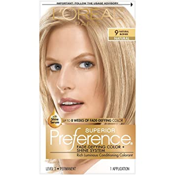 Amazon Com L Oreal Paris Superior Preference Fade Defying Shine Permanent Hair Color 9 Natural Blonde Pack Of 1 Hair Dye Chemical Hair Dyes Beauty