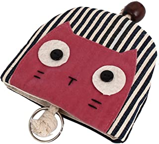 uxcell® Women's Cat Face Decor Split Ring Strap Coin Key Purse Wallet