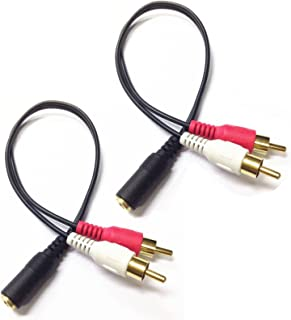 CERRXIAN 0.2m Gold 3.5mm Female Stereo Jack to 2 RCA Plug AUX Auxiliary Headphone Adapter Audio Y Cable(Black)(2-Pack)