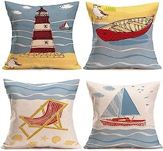 U-LOVE Beach Pillow Covers 4 Pack Cotton Linen Coastal Throw Pillowcases Sea Theme Cushion Cover 18 x 18 inch (Sea-1)
