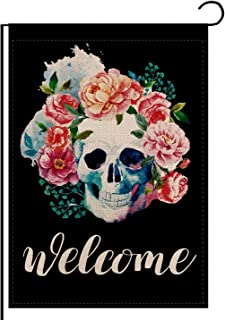 REUTGN Skulls Red Roes Flowers Summer Spring Welcome Garden Flag Double Sided, Welcome Seasonal Burlap House Flags, Yard S...