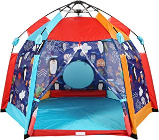 UTEX Automatic Instant 66 inches 6 Kids Play Tent for Indoor or Outdoor Use,Kids Beach Tent Sun Shelter with Zippered Mesh Front, Camping Playhouse Indoor Playground (Sea Cabana)