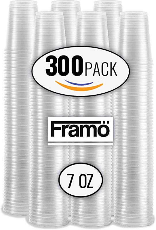 7Oz Clear Plastic Cups By Framo For Any Occasion BPA Free Disposable Transparent Ice Tea Juice Soda And Coffee Glasses For Party Picnic BBQ Travel And Events 300 Clear