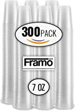 7Oz Clear Plastic Cups by Framo, For Any Occasion, BPA-Free Disposable Transparent Ice Tea, Juice, Soda, and Coffee Glasses for Party, Picnic, BBQ, Travel, and Events, (300, clear)