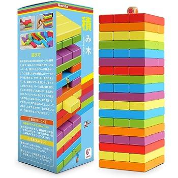 Homraku 木製バランスゲーム 立体パズル 積み木ブロック ドミノブロック ボードゲーム テーブルゲーム 子供も大人も老若男女楽しめる おもちゃ (6カラー 54PCS)