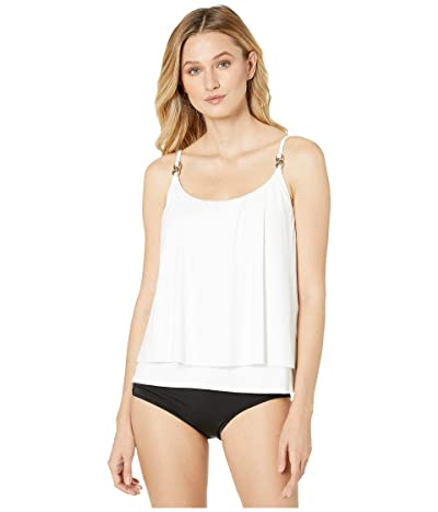 MICHAEL Michael Kors Iconic Solids Double Layer Tankini Top (White) Women