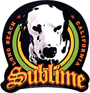 Sublime - Lou Dog on Black with Long Beach California - Sticker / Decal