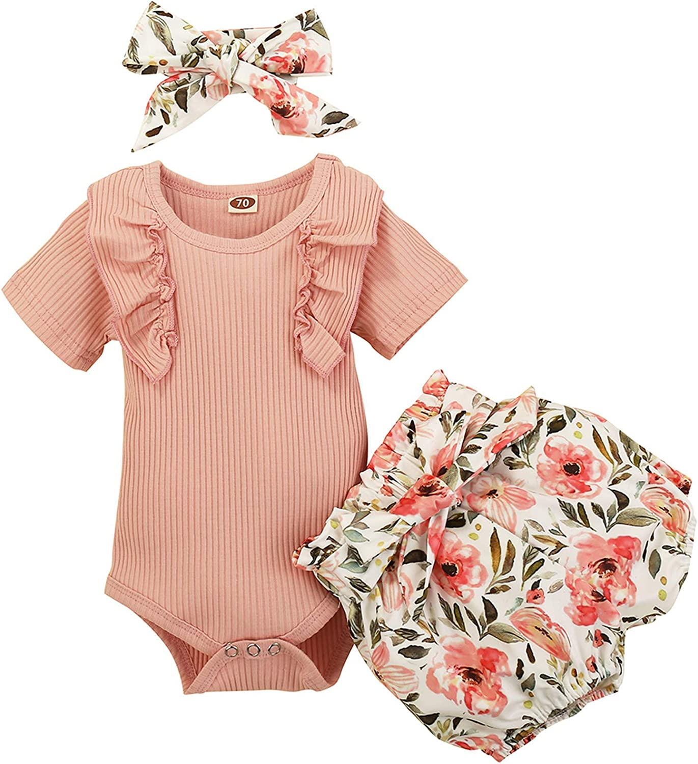 Newborn Toddler Baby Girl 3PCS Shorts Clothes Set Short Sleeve Ruffle Romper Top Floral Pants Summer Outfit