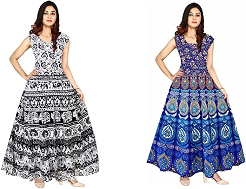 Cotton Rajasthani Traditional Women s Maxi Long Dress Jaipuri Printed Free Size Upto 44 Combo of 2