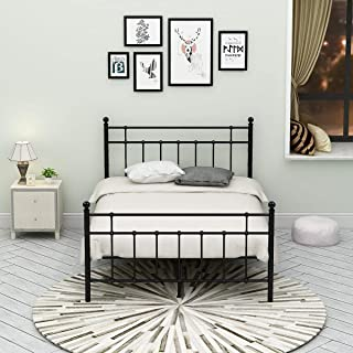Metal Bed Frame Platform Assemble Easily Mattress on Top with Steel Headboard and Footboard Black Full Size Iron Round Slat Mattress Foundation Modern Style No Box Spring (Full, Black)