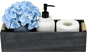 Unistyle Wooden Toilet Tank Box, Farmhouse Bathroom Decor Box with Mason Jar and Flower, Toilet Paper Holder Basket, Wood Organizer Box, Decorative Storage Box for Bathroom, Kitchen, Table and Counter