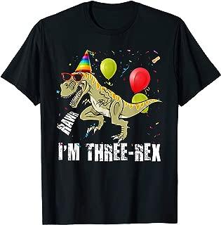 Raws I'm Three-rex 3rd Birthday Boy Toddler Kid Dinosaur