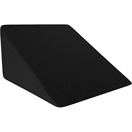 MOJOREST Memory foam Wedge Pillow to Support and Elevate Neck, Head and Back for Acid Reflux or Feet and Legs to Reduce Back Pain and Improve Circulation with Removable Cover (Black, Standard)