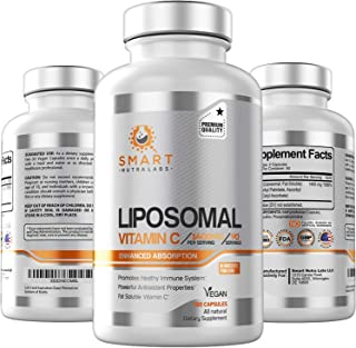 Liposomal Vitamin C 1400mg- 180 Vegan Capsules- China Free Ingredients, Fat Soluble High Absorption VIT C- Supports Health...