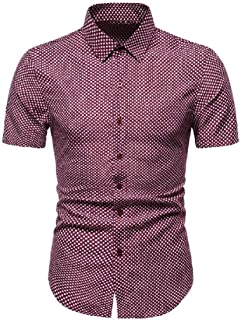 Macondoo Men Casual Summer Loose Plaid Short Sleeve Button Down Shirts