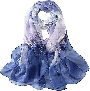 Long Silk Chiffon Scarf Floral Print