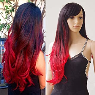 S-noilite Women Wigs 28 Inch Long Wavy Synthetic Ombre Colors Wig with Wig Cap for Party Cosplay - Black-Red