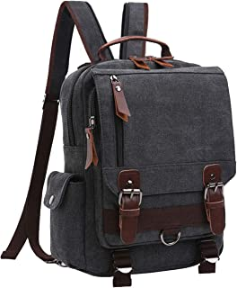 mygreen Canvas Segeltuch Umhängetasche Cross-Body 13-Inch Laptop Messenger Bag Schulter Rucksack Schwarz-Reißverschluss Schultergurt