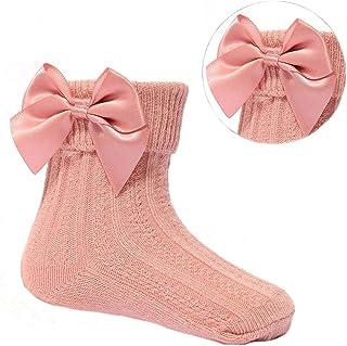 Aelstores, Calcetines de algodón para niñas con lazo español y corazones para boda, calcetines largos de rodilla con lazos de cinta de fiesta con pompones y pompones de bobble para recién nacidos - 24 meses