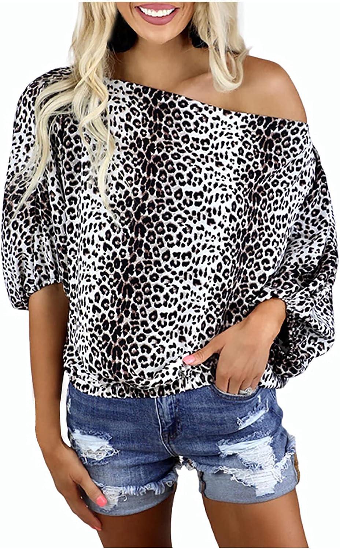 Womens Summer Tops Women's Tops Leopard Print Collar Off-Shoulder Sexy Loose Casual Tops Loose Fit Crewneck Tees
