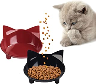 Povinmos Cat Bowls Cat Food Bowl Non Slip Cat Dish Double Cat Feeding Bowls for Whisker Stress Relief Pet Food & Water Bowls