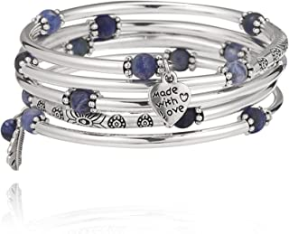 Silver Wrap Bracelets for Women, Stackable Bangle with Love Heart and Leaf Pendant Beaded Fashion Jewelry