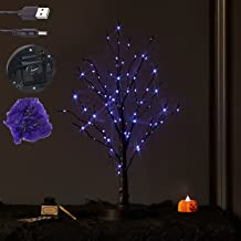 LITBLOOM Lighted Halloween Tree with 80L Purple Fairy Lights, Spooky Tabletop Tree Lights 18IN Battery Operated or USB Plu...