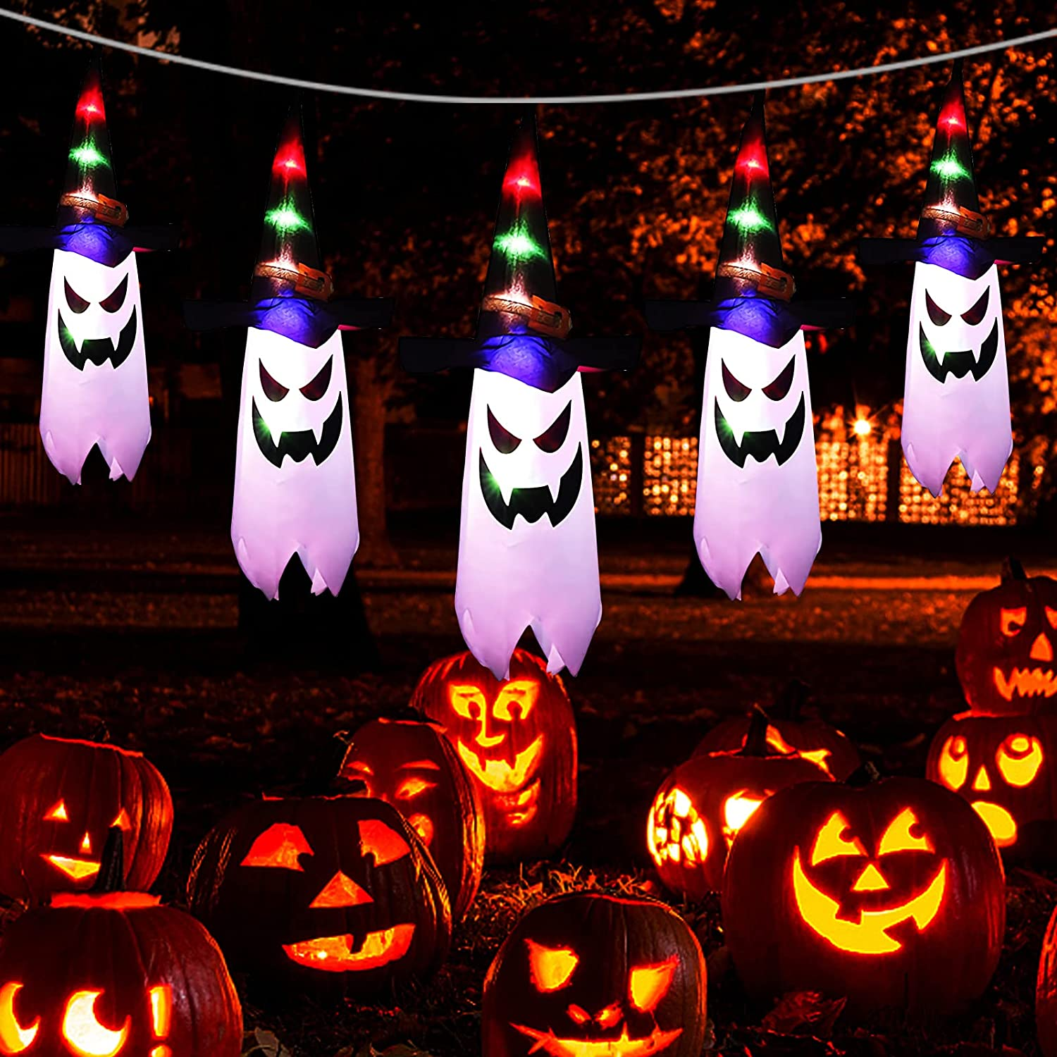 Oulonger Outdoor 5-Ghost 7ft  Halloween String Light $11.99 Coupon