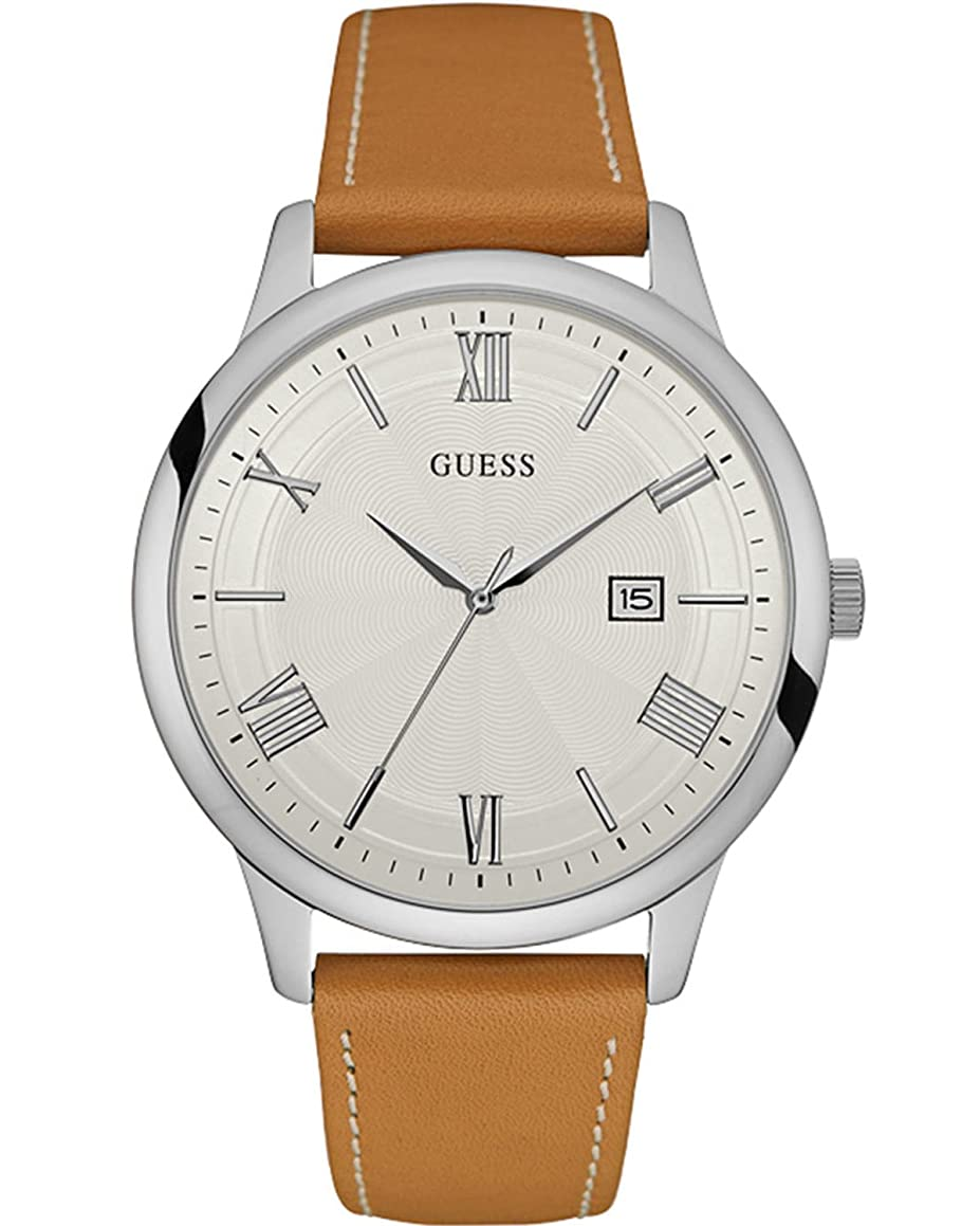Guess Watches Men's Guess Men's Leather Brown-Beige Watch