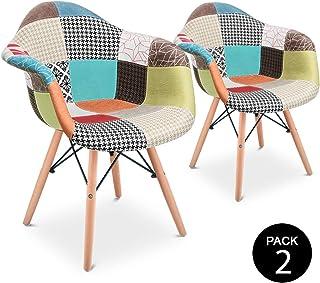 Mc Haus AURA Patchwork - Pack 2 Sillones Comedor estilo Vintage patchwork tower, Butaca con reposabrazos y diseño tapizado...