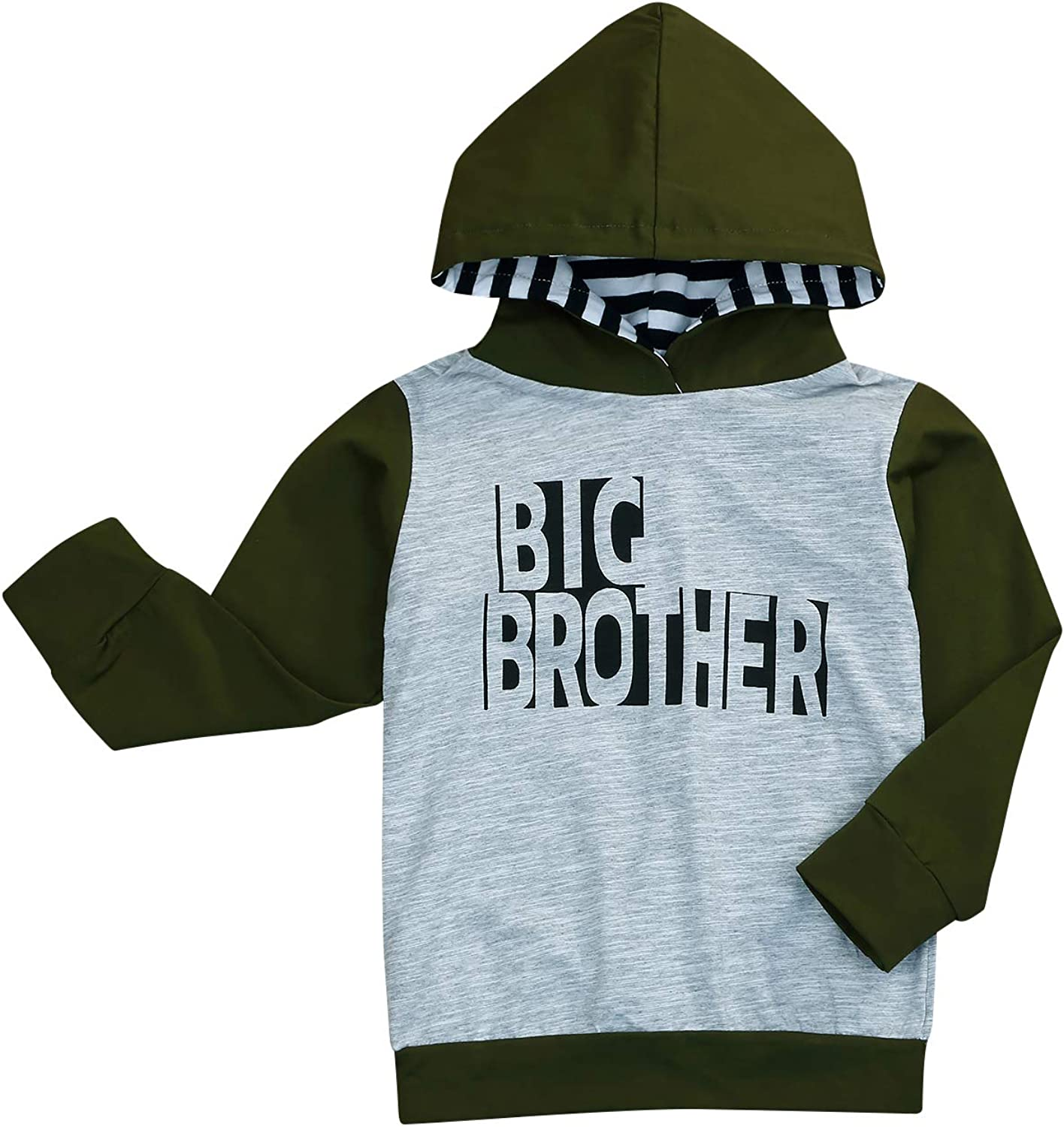 Kids Newborn Baby Boys Little/Big Brother Outfits Letter Print Hooded Sweatshirt Romper Fall Clothes