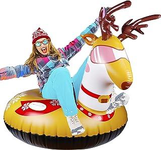 لوله برفی زمستانی Glintoper برای سورتمه سواری ، سورتمه برفی بادی برای کودکان و بزرگسالان ، لوله های برفی سنگین با دسته های محکم ، مواد مقاوم در برابر سایش