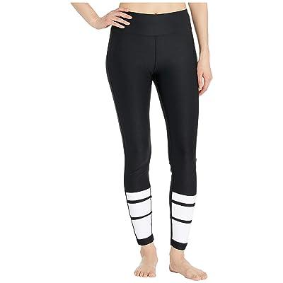 Bebe Sport Striped Leggings (Black/Racer Stripes) Women