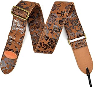 CLOUDMUSIC Guitar Strap Floral Series Snake Skin Series Universal Black Strap PU Strap For Guitar Acoustic Electric Bass (Floral Coffee)