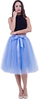 Women's Tutu Skirt Midi Tulle Skirts 7 Layers Petticoat