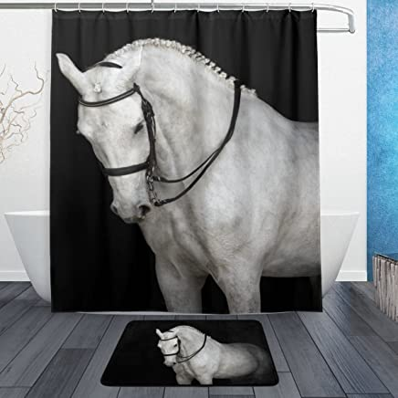 Mydaily White Horse Shower Curtain 60 x 72 inch with Bath Mat Rug & Hooks, Mildew Resistant & Waterproof Polyester Decoration Bathroom Curtain Set